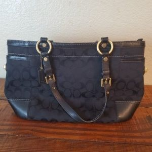 Coach Black Signature Leather Shoulder Handbag